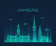 Hamburg skyline vector illustration linear style