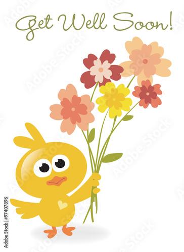 Valokuva  Get Well Soon bird with flowers