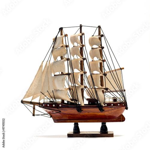 Keuken foto achterwand Schip Model of the wooden antique schooner