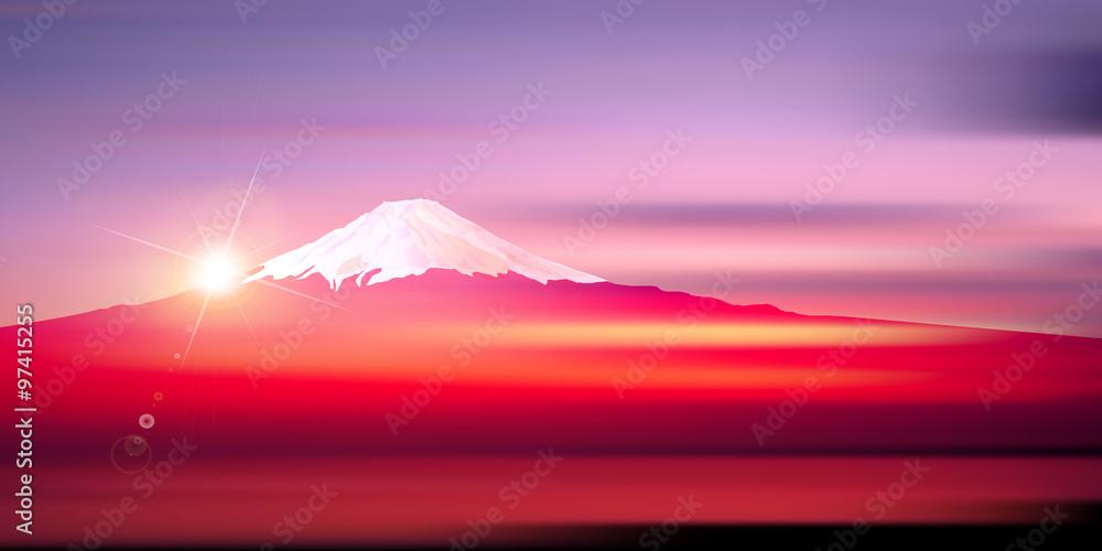 Fototapety, obrazy: 富士山 日の出 正月 背景