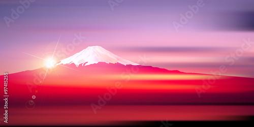 Fotografie, Obraz  富士山 日の出 正月 背景