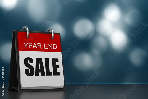 Tablou Canvas 3d render of calender with year end sale written