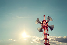 Horn Speaker For Public Relations Sign Symbol, Vintage Color - Sun With Blue Sky
