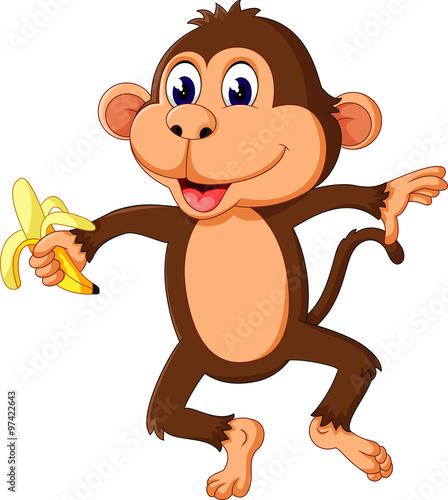 Papiers peints Chambre bébé cute Cartoon monkey of illustration