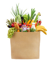 Full Grocery Bag / Studio Photography Of Brown Grocery Bag With Fruits, Vegetables, Bread, Bottled Beverages - Isolated Over White Background. High Resolution Product