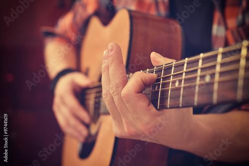 Photo  Guitarist Playing On Guitar