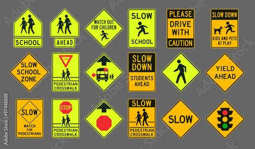 Pedestrians road signs