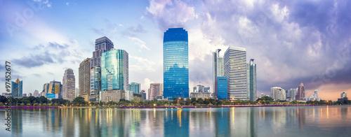 Poster Bangkok Panorama of Bangkok city downtown at night
