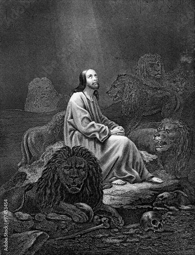 An engraved vintage illustration image of Daniel in the Lions Den of the Old Testament Bible, from a Victorian book dated 1886 that is no longer in copyright Fotomurales