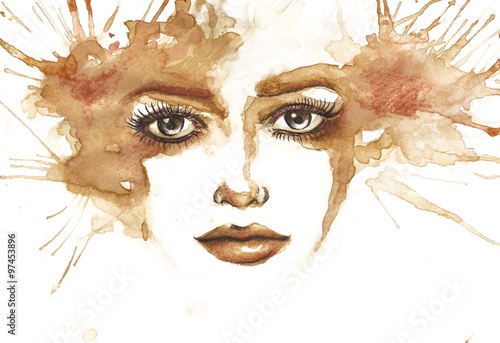 Abstract watercolor woman portrait