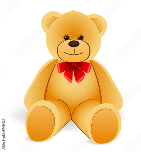 Toy Teddy Bear with red bow. Isolated on white background #97454024