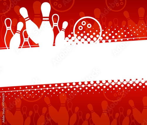 Foto Abstract sports background with elements of the game of bowling