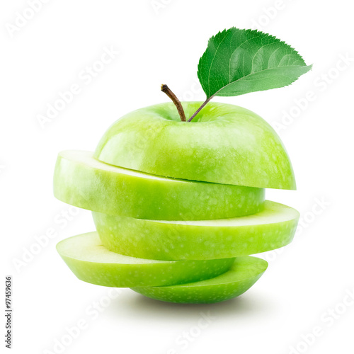 Fotografie, Obraz  Stack plátky zelené jablko na bílém