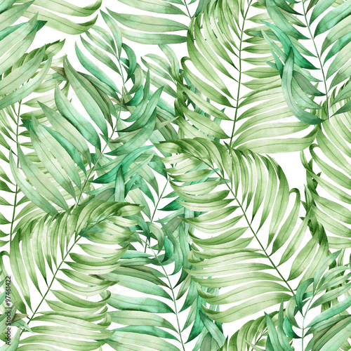 Türaufkleber Künstlich A seamless pattern with the branches of the leaves of a palm painted in watercolor on a white background