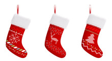 Red Christmas Stockings Isolat...