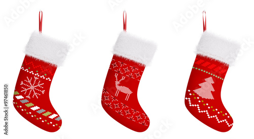 Photographie  Red christmas stockings isolated 3d rendering