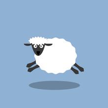 Running White Sheep Cartoon Vector Illustration