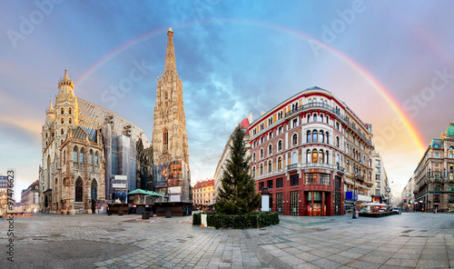 Garden Poster Vienna Panorama od Vienna square with rainbow - Stephens cathedral, nob