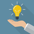 Hand holding lightbulb idea