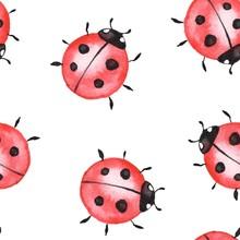 Ladybugs. Seamless Pattern 1