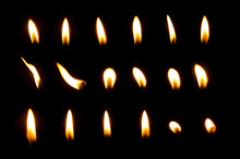 Set Of Frame Light Candle Burning Brightly In The Black Background