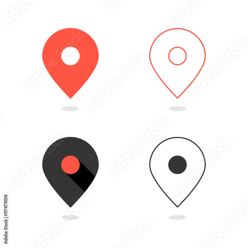Valokuva  set of simple pin icons with shadow