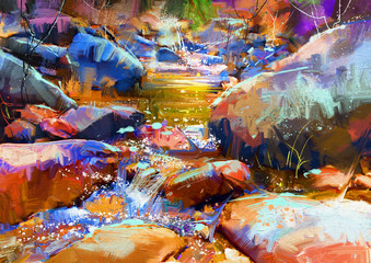 Fototapeta Wodospad beautiful waterfall with colorful stones in autumn forest,digital painting
