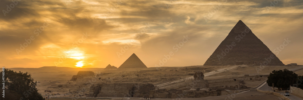 Fototapeta Egypt. Cairo - Giza. General view of pyramids from the Giza Plat