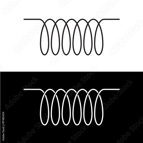 Obraz Induction spiral electrical symbol. Black linear coil element si - fototapety do salonu