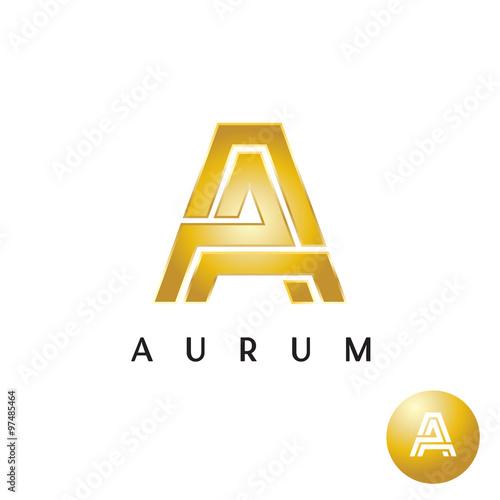 Letter A golden style wide lines logo Wallpaper Mural