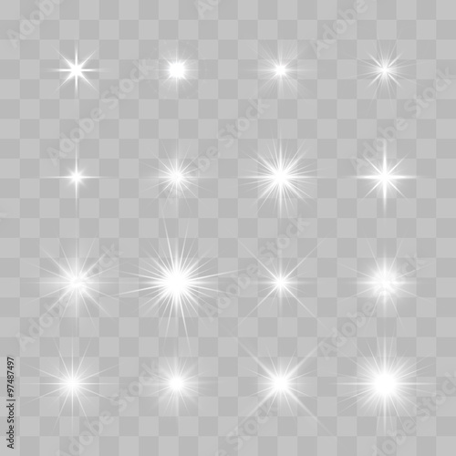 Fotografia Set of Vector glowing sparkling stars