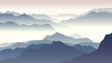 Horyzontalna ilustracja zmierzch w górach. - 97493017