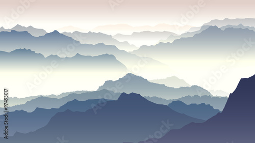 Fototapeta Horizontal illustration of twilight in mountains. obraz na płótnie