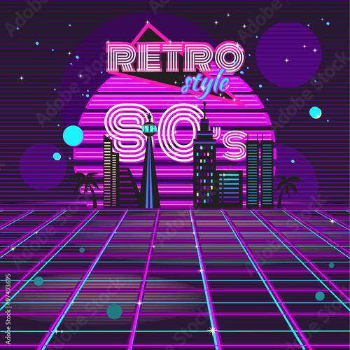 Fotografia  Retro style 80s disco design neon