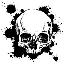 Hand-drawn Human Skull With Black Ink Blots. Vector Illustration