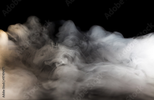 Poster Fumee Abstract fog or smoke move on black color background