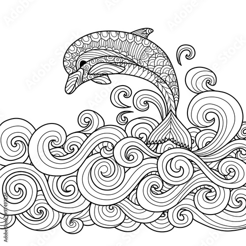Hand drawn zentangle dolphin with scrolling sea wave for coloring book for adult Poster Mural XXL