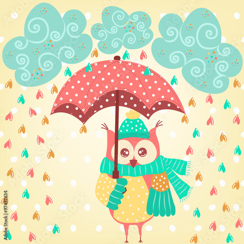 Poster Hibou Cute owl with umbrella in the rain