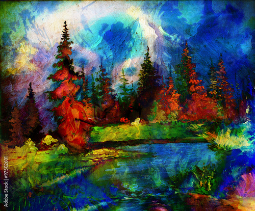Fototapety, obrazy: Landscape painting. River and miscellaneous and trees. Snow covered mountains in the background and color effect with spots