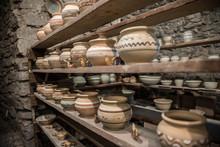 Shelves With Ukrainian Ceramics