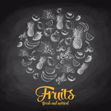 Hand Drawn Vector Illustration With Fruits And Berries. Sketch.