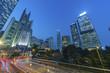 Night traffic and skyline of Hong Kong city
