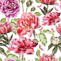 FototapetaSeamless pattern with watercolor flowers. Peonies.