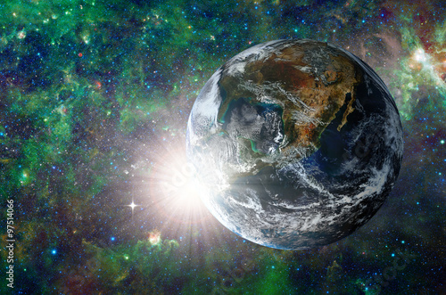 Fototapety, obrazy: Planet in the background galaxies and luminous stars. Elements of this image furnished by NASA