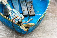 Old Blue Wooden Shabby Fishing...