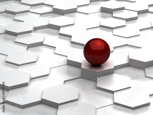 abstrakcjonistyczny-tlo-3d-szesciokaty-i-czerwona-sfera