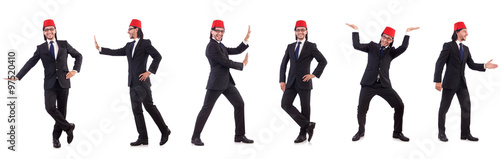 Man wearing fez hat isolated on white Canvas Print