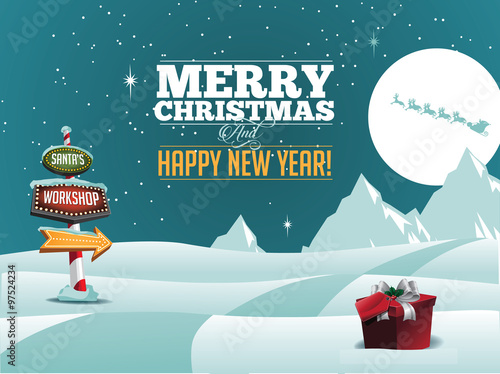 Fotografie, Obraz  North Pole Santa's Workshop sign greeting card design.