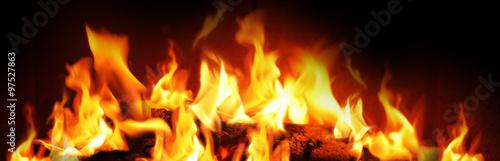 Aluminium Prints Fire / Flame Schönes Kaminfeuer