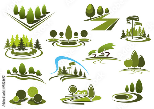 Fotobehang Wit Green park, garden and forest landscape icons